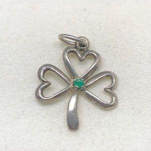 Sterling Silver Natural Emerald Shamrock Pendant